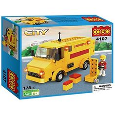 COGO Cute Postal Mail Trucks Deliver Service Car Vehicle Building Blocks Car Toys Gift Toys for Kids Boys and Girls Play Set Kit Yellow 178 Bricks CG4107