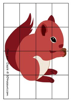 * Puzzel: Eekhoorn! Animal Footprints, Theme Nature, Kindergarten, Fall Preschool, Step Kids, Autumn Theme, Kids Education, Card Templates, Squirrel