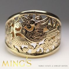 MING'S HAWAII BIRD IN PLUM 14K YELLOW GOLD DOME RING SIZE 6 #MingsHawaii