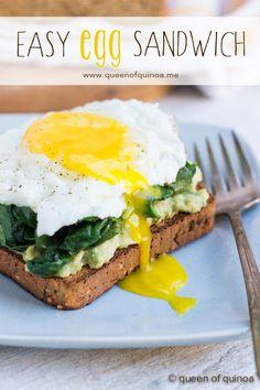 Easy Gluten-Free Breakfast Sandwich - fried egg, sauteed kale, smashed avocado & #glutenfree toast