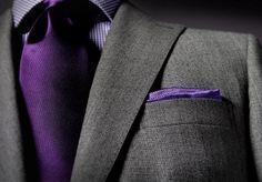 Grey suit, purple accents