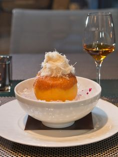 Meet the signature dessert at @Four Seasons Hotel Toronto's Café Boulud: The Grapefruit Givré: sorbet served in a frozen grapefruit with halva floss and bits of Turkish delight. Unforgettable in looks and taste.