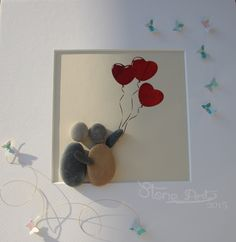"""Stein Bild  """"Love Ballons"""" Kiesel Art Pebble Art Geschenk Ruhestand Geburtstag Hochzeit Verlobung – Personalisierbar von StoneArt2015 auf Etsy"""