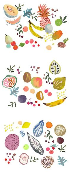 fruity ( inspired by the lickable wallpaper in the original Charlie & the Chocolate factory movie): Food Illustration, Watercolor Food, Art Fruit, Happy Menocal, Watercolor Illustration, Watercolor Fruit