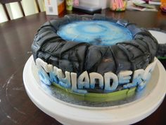 Skylanders cake. Rolled fondant with airbrush top. Hand cut lettering