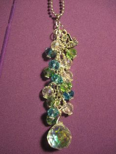 Blue Green and Clear Glass Beaded Purse Charm / by FoxysFunDangles