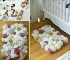 Colorful DIY Pom-Pom Rug and Another Creative Projects Diy Pom Pom Rug, Pom Pom Crafts, Diy And Crafts Sewing, Crafts For Kids, Diy Crafts, Embroidery Designs, Yarn Projects, Home And Deco, Rug Making