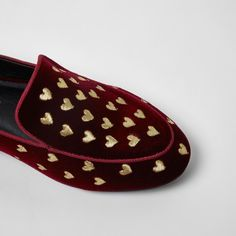Velvet fabric upper All-over heart embroidery Slip on style