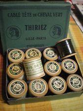 Mercerie ancienne - 12 bobines échantillons EN BOIS CABLE TETE DE CHEVAL THIRIEZ