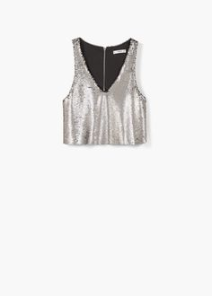 Reversible sequins panel V-neck Straps Zip fastening on the back section Inner lining Mermaid Sequin, Next Clothes, Prom Looks, Outlet, Sequin Top, Crop Tops, Tank Tops, Night Out, Casual Outfits