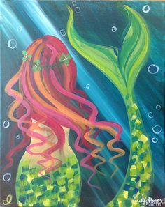 Mermaid beginner painting idea. The Paint Mixer - Park City's & Salt Lake's Premier Paint and Wine Studio | The Paint Mixer