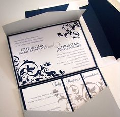 5x7 pocket fold wedding invitation | Renaissance Writings