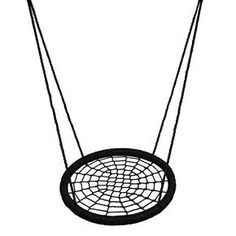 """Soar, swing n spin on M&M's large 39"""" web rope swing with a dreamcatcher woven platform big enough for multiple kids to share. Ages 5-99, children, teens, and adults can nest on our unrivaled sturdy construction of outdoor UV-resistant polyethylene rope and powder-coated steel tube frame. Safety rated to 600 lbs. Fully-assembled with adjustable hanging rope, two spring clips and optional 10 ft' tree strap make this swing ready to hang from your favorite tree or play system.  ..."""