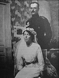 Wedding photograph of Grand Duchess Olga Alexandrovna (sister of Czar Nicholas II) and Colonel Nicholas Kulikovsky, November 1916, city of K...