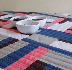 Modern tablerunner with blue, ping and beige stripes for smart by MajanoFiberArt on Etsy