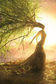 Mother Earth embracing the morning sun. I believe this represents well of them putting all of their trust into mother nature to repopulate the earth. Fantasy Kunst, Fantasy Art, Nature Spirits, Gods And Goddesses, Fantasy World, Tree Art, Tree Of Life, Mythical Creatures, Belle Photo