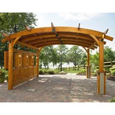 Arched Wood Pergola is made from durable Douglas fir in a Redwood finish. ThisArched Wood Pergola is perfect for an outdoor wedding that you want to be what you have been in your dream. The pergola includes an anchor system and is ready to assemble. Diy Pergola, Backyard Canopy, Wood Pergola, Pergola Canopy, Pergola With Roof, Cheap Pergola, Outdoor Pergola, Pergola Shade, Patio Roof