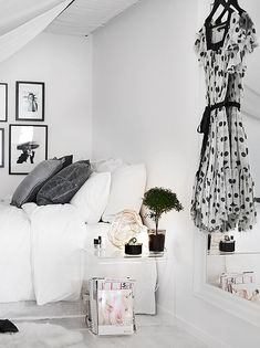 Grey, white and black bed room.