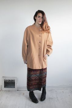Manteau minimaliste asymétrique de la laine de par vauxvintage