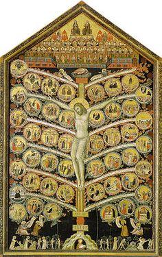Pacino di Buonaguida - Albero della Vita - tempera e oro su tavola - 1305-1310 circa - Galleria dell'Accademia a Firenze.