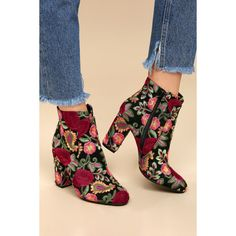 MIA Rosebud Black Embroidered Ankle Booties ($89) ❤ liked on Polyvore featuring shoes, boots, ankle booties, black, black zipper booties, zip boots, zipper boots, almond toe booties and floral booties