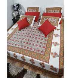 Heritage Fabs Anokhi Gold N Rust Double Bed Cover Set With 2 Pillow Covers