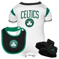 adidas Boston Celtics Infant Creeper, Bib & Booties Set - White/Black