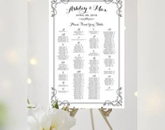 THIS IS NOT A TEMPLATE - you provide your guest names by table, I create and you print !!  This listing is for an oversize (poster size) Seating Chart as shown above - guest names arranged by table - which uses Vintage decorative script in antique gold with floral accents.  Please select your number of tables and print size form the drop down menus.  In the note to seller on checkout, please indicate your floral option by number.  After checking out, please send your names, date and guest…