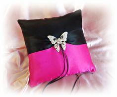 Butterfly Wedding Ring Bearer Pillows - Black Fuchsia Pink Weddings Ceremony Decor