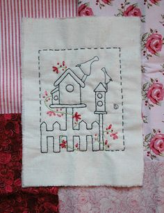 bird house and birds embroidery