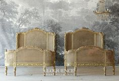 Eloquence® Pair of Antique Beds Antique French Furniture, Antique Beds, French Country Bedrooms, French Country Farmhouse, French Wallpaper, Boudoir, Pile Of Books, Mattress Dimensions, Holy Chic