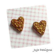 Polymer Clay Rustic Earring Charms  Bead Set Hearts by JuJoDesigns