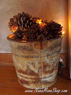 No way! I did this last Christmas by our fireplace! I got the extra small lights, connected to a battery switch so there was no visible cord. The bucket I have is a beat up old wood bucket from  World Market. Pine cones are easy to find around fall, got mine at Dillons (Kroger), cinnamon scented! Lolly loves!