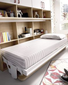 Majhen prostor? Ni problema Murphy Bed Office, Platform Daybed, Convertible Furniture, Student Room, Muebles Living, Bed Wall, Room Organization, Guest Room, Living Room Furniture