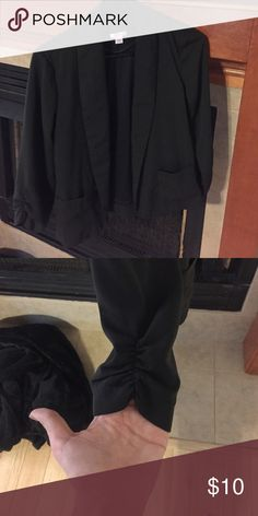 Black dress jacket Really cute and comfortable dress jacket. Black with a nice sleeve detail. Would be great for work or over a dress Xhilaration Jackets & Coats Blazers
