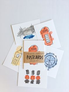 London Postcard Set - art inspired by London. Classic London sights, iconic English red telephone box, the London eye, Big Ben, Tower Bridge and Queen's Guards. Home decor inspiration. London Postcard, Arte Van Gogh, Postcard Design, Diy Postcard, London Art, Mail Art, Graphic Design Inspiration, Paper Design, Watercolor Art