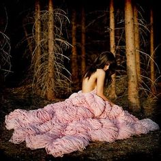 pink dress in the woods
