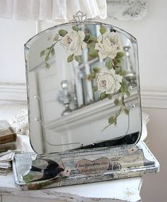Painted Roses on Mirror