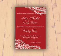 Lace Wedding Invitation Red Lace wedding invite by PrintableMoon, $14.00