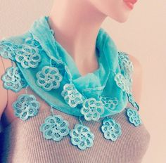Blue Scarf Blue Lace Scarf Blue Scarves for Women Lace by MaxiJoy, $18.00 #urban #accessories #gift