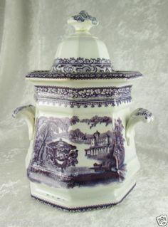 Flow Purple Transferware Wedgwood Podmore Walker Washington Vase Sugar Bowl 1850 | eBay