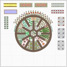Garden Plan - A thirty-foot mandala garden centered around a five-foot herb spiral and surrounded by 4'x12' raised beds.