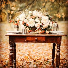 Fall Theme; center piece is great along with desk for guest signing area
