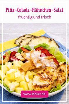 Ganz ehrlich: Was schon als Cocktail unfassbar gut ist, kann als Salat nur grandios schmecken! Herrlich frisch und fruchtig - besonders im Sommer ein Genuss. #salat #sommer #pinacolada #cocktail #salatrezept #hähnchen #ananas #ananassalat