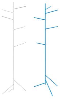 Fir, by Ex.t, is a sparsely alluring, freestanding, varnished metal coat stand or towel rack.
