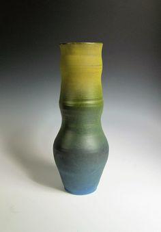 Yellow Green Ceramic Flower Vase, Tall Ceramic Flower Vase, Handmade, Wheel  Thrown,