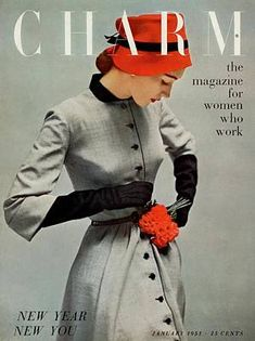 Charm Cover - January 1951 by Carmen Schiavone - Dress by Jonathan Logan.love the line, for women who work! Fashion Magazine Cover, Fashion Cover, Magazine Covers, Vestidos Pin Up, Vintage Dresses, Vintage Outfits, Look Retro, Vintage Fashion Photography, Moda Vintage