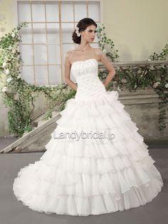 プリンセス ハートネック チャペルトレーン ウエディングドレス B12045