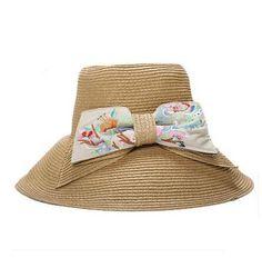 Embroidered flower bow bucket hat for women straw sun hats summer wear