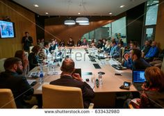 Moscow, Russia - April 15, 2017: People at round table session at Velocongress at Tekhnopolis Hall